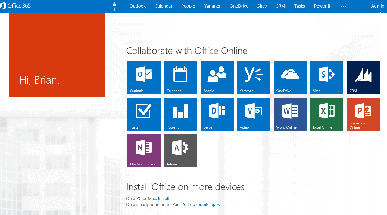Office 365 Home Page Changes