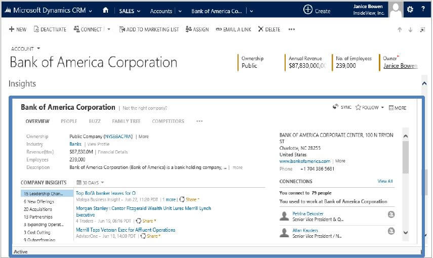 Insights for Dynamics CRM Powered by InsideView