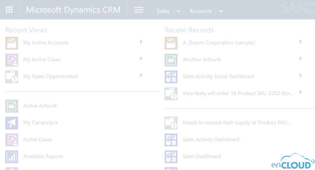 enCloud9 | Microsoft Dynamics 365 CRM Consultants QuickTip - Simple Personal Navigation in Dynamics 365 Dynamics 365 CRM QuickTips Microsoft Dynamics 365 Microsoft Dynamics CRM