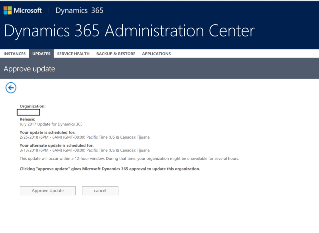 365 update 4 1024x748 It's Time to Schedule Your Dynamics 365 July 2017 Update