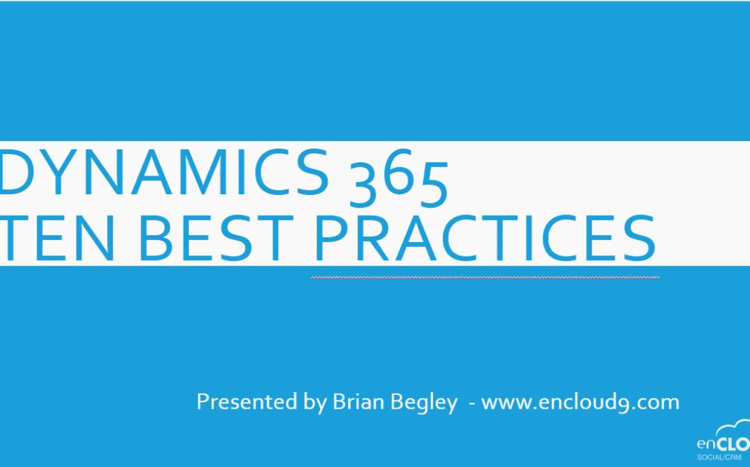 September Webinar: 10 Dynamics 365 Best Practices (and Hacks)
